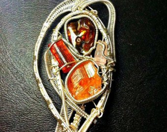 Reversable Fire Agate, Etched Hessonite Garnet, Brazilian Tourmaline, Pink Tourmaline Sterling Silver Wire Wrapped (Rare Fire Agate Pendant)