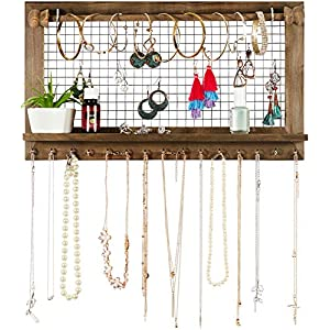 Rustic Jewelry Organizer with Bracelet Rod Wall Mounted – Wooden Wall Mount Holder for Earrings, Necklaces, Bracelets…