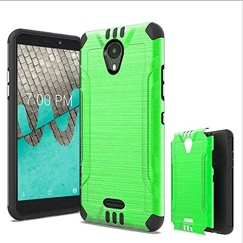 Wireless Accessories Phone Case Compatible with ANS Wiko Ride (Boost Mobile) Brush Shock Absorbing Cover (Combat Green) (Boost Mobile Cases)