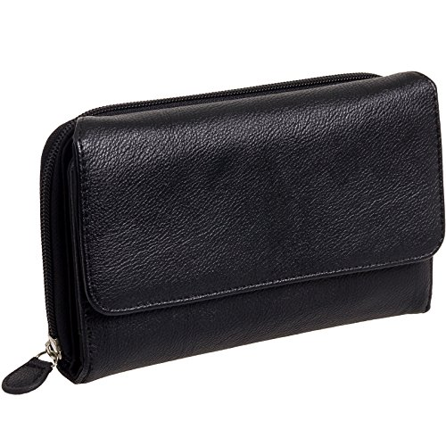 Mundi Big Fat Wallet Soft Shine - - Ladies Wallet Black Checkbook
