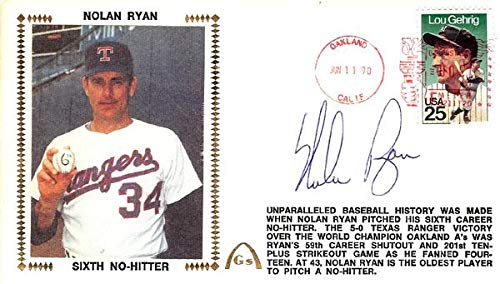 Nolan Ryan Autographed First Day Cover Texas Rangers #AB53634 PSA/DNA Certified MLB Cut Signatures