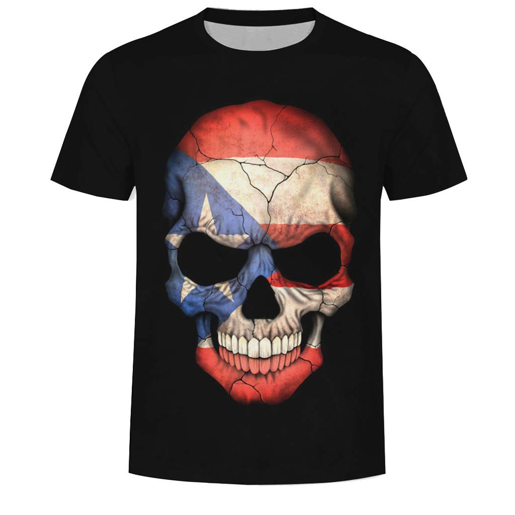 Palarn Mens Fashion Sports Shirts Fashion Mens Splash-Ink 3D Printing Skull Shirt Short Sleeve T-Shirt Blouse Tops