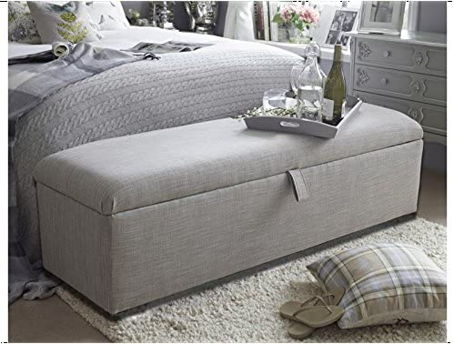 mm08enn New Beautiful Victoria large ottoman,storage box in light grey chenille colour