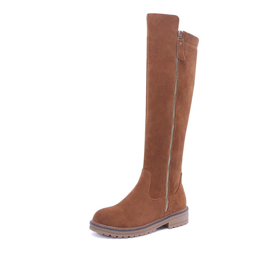 SHINIK Frauen Wildleder Ritter Stiefel 2018 Winter New Low Heel Knie Stiefel Große Größe 40-43