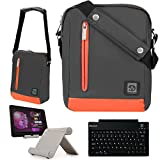 Adler 10.2 Premium Nylon Carrying Shoulder Bag Case For Google Nexus 9 Tablet (8.9-Inch) by HTC + Bluetooth Keyboard + Foldable Stand
