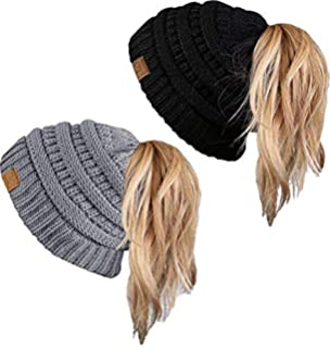0a2e89cadd2 FENGGE Messy Bun Hat Quality Knit Soft Stretch Winter Warm Cable Knit Fuzzy  Lined Ear Warmer