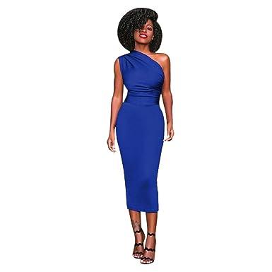 8ac5ef100af OHQ Robe Mi-Longue sans Manches pour Femme Bleu Femmes Mi Longues Chic  Taille Courte