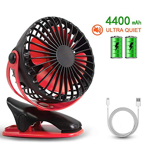 HALLO Gontar Clip-on Stroller Fan 4400 mAh Rechargeable Lithium Battery & USB Cable 360°Rotation Adjustable Speed-Operated Accessory for Baby, Car Seat, Gym, Travel, Treadmill,(Black&RED) (Red Mill Stroller)