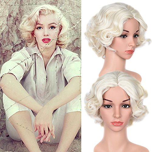 Short Big Curly Wave Light Blonde White Synthetic Wig Natural Wavy Wigs for Cosplay Costume Party(70M17)