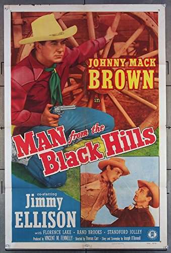 Man From The Black Hills (1952) Original U.S. Monogram Studios Movie Poster 27x41 Folded Fine Condition Theater-used JOHNNY MACK BROWN Film Directed by THOMAS CARR