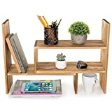 MyGift Burnt Wood Adjustable Desktop Organizer Display Shelf, Counter Top Bookcase