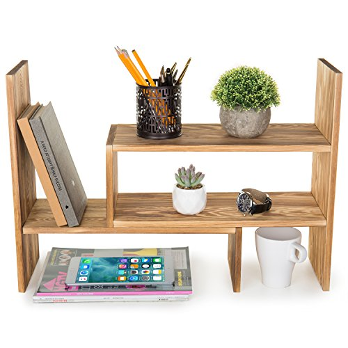 MyGift Burnt Wood Adjustable Desktop Organizer Display Shelf, Counter Top Bookcase by MyGift