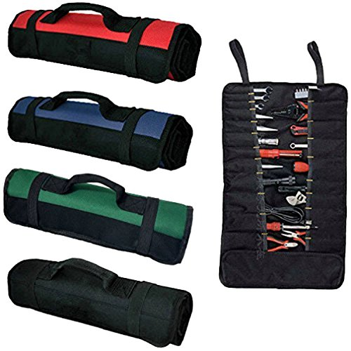 Wrench Roll Up Pouch Black Coiling Block Bag Wera Tools Rolling Organizer Carrier Truck Tool Box Big Tote Carrier Socket Tray with 38 Pockets Sockets and Handle GJB01