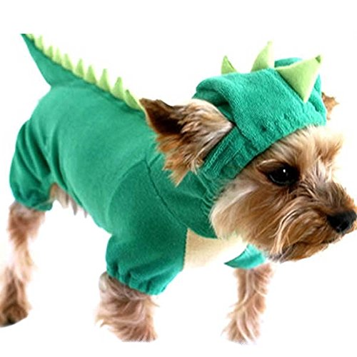 (Patgoal Pet Dog Dinosaur Costume Green Jumpsuit Pajamas CoatJacket for Puppy)