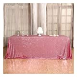 3e Home 60×120'' Rectangle Sequin Tablecloth for Party Cake Dessert Table Exhibition Events, Fuchsia Pink