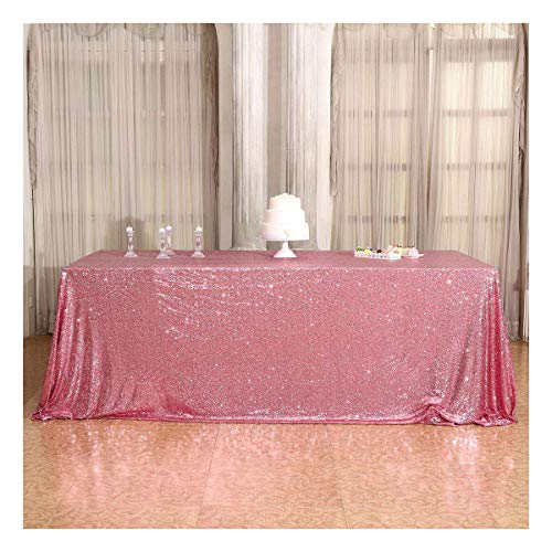 Poise3EHome 60x102 Rectangle Sequin Tablecloth for Party Cake Dessert Table Exhibition Events, Fuchsia Pink -