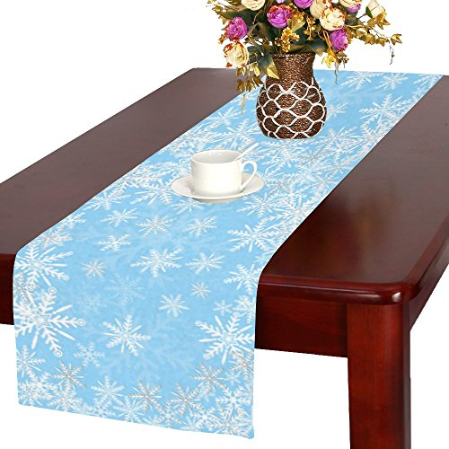 InterestPrint Christmas Snowflake Long Table Runner 16 X 72 Inches, White and Blue Winter Snow Rectangle Table Runner Cotton Linen Cloth Placemat for Office Kitchen Dining Wedding Party Home Decor]()