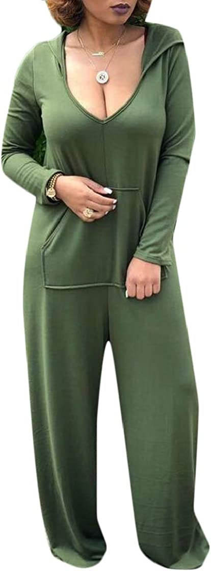 Pandapang Women Wide Leg Scoop Neck Trendy Hooded Long Sleeve Pocket Plus Size Playsuit Jumpsuits