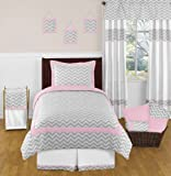 Pink and Gray Chevron Childrens and Kids Bedding 4 Piece Girls Twin Set