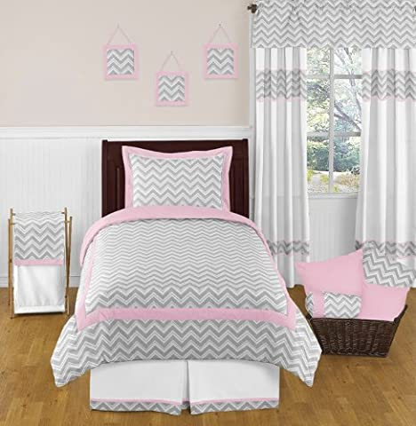 Pink and Gray Chevron Childrens and Kids Bedding 4 Piece Girls Twin Set - Juvenile Bedding