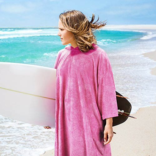 Catalonia Hooded Surf Poncho,Water Absorbent Wetsuit Changing Robe,Adults Sleeved Sand Proof BeachTowel for Watersports Surfing Swimming Bathing - Beach Towel Swimming