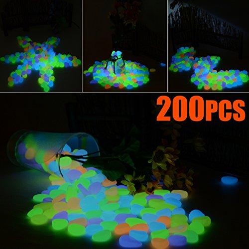 Chasgo 200PCS Multi-Color Pebbles Stones For Garden Glow Stepping Stones Rocks