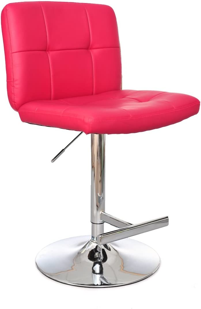 Ultimate Accent Cushion Seat and Back Adjustable Height Bar Stool, Raspberry