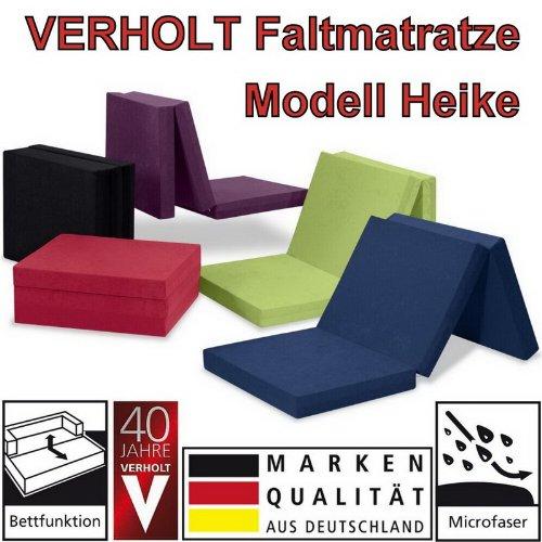 Klappmatratze Faltmatratze Verholt HEIKE schwarz - MADE IN GERMANY - als Gästebett / Gästematratze / Klappbett einsetzbar