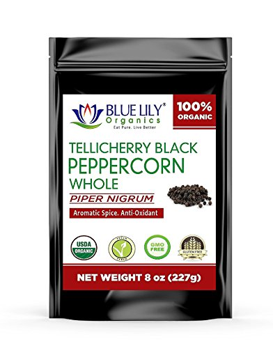 Blue Lily Organics Whole Tellicherry Extra Bold Black Peppercorns - Certified Organic (8 Oz)