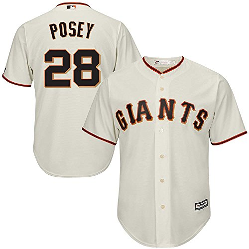 Majestic Buster Posey San Francisco Giants MLB Youth Ivory Cream Alternate Cool Base Replica Jersey (Youth Small 8)