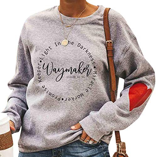 StarVnc Women Waymaker Letter Printed Neck Crew Neck Long Sleeve Fashion Sweatshirt Beige