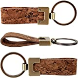 CORCO Eco Friendly Natural Cork Leather Elegant Key chains for Vegan Mens, Women Brown