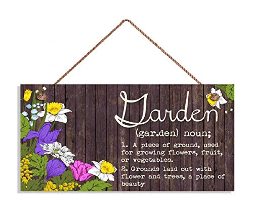 """TOPFINES Garden Sign, Flowers and Rustic Wood Design, 5"""" x 10"""" Sign, Plaque, Housewarming Gift, Meaning of Garden, Wood Plank Design Hanging Sign (10"""" x 5"""", 24)"""