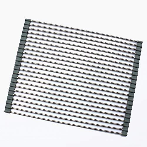 IKDMJ Folding Kitchen Sink Rack,Stainless Steel & Roll Silic