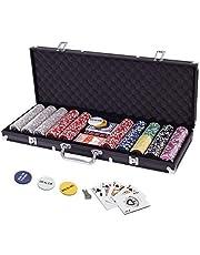 Display4top Pokerkoffer 500 chips laser pokerchips poker 12 gram, 2 kaarten, dealers, Small Blind, Big Blind toetsen en 5 dobbelstenen, zwart met aluminium behuizing