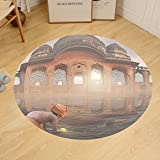 Gzhihine Custom round floor mat Ancient India Traditional Man Doing a Ritual Ceremony in Ganges River Sacred Image Bedroom Living Room Dorm Peach Grey