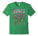 Mens Santa Loves Belgian Sheepdogs Christmas Dog Shirt 2XL Grass