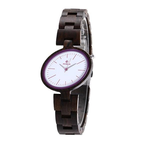 Reloj de madera natural reloj mujer correa de piel madera nogal madera, 3