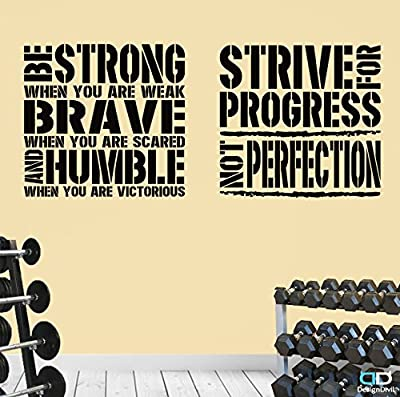 2 Gym Exercise Fitness Motivational Wall Decal Quotes Brave Strive Great Value!