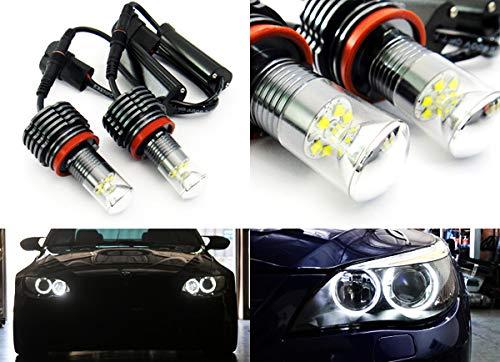2 x Anillo Halo Anillo de Angel LED Blanco Cree Luz de d/ía H8 Bombilla 60W Canbus para E90 E92 E82 E60 E70 E71