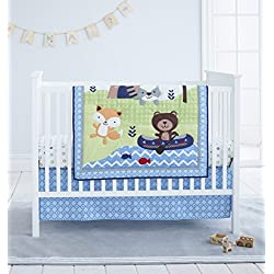 Cuddle Time Boy's 3 piece Crib Bedding Set, Woodland