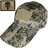 Tactical Military Digital Subdued ACU Army Camo Camouflage Baseball Adjustable Hat Cap with Tactical Morale Operator Skull Patch - Coyote Tan (RR-TCAP-SACU-PUN-COYT)