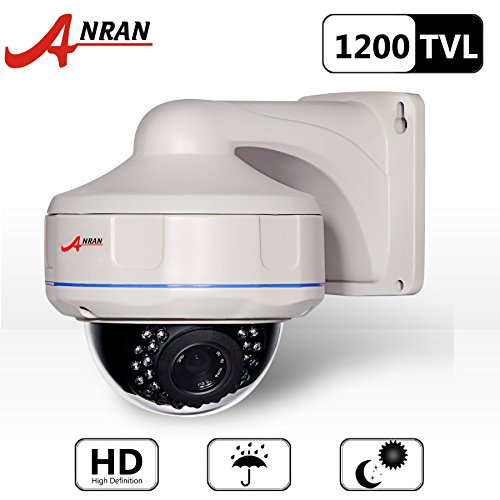 Anran HD 1200tvl Wired Dome Surveillance Cctv Camera High Resolution IR Leds Day Night Vision Security Waterproof Outdoor Indoor Manual Varifocal Lens 2.8-12mm, Not PTZ dome with Power supply as Free