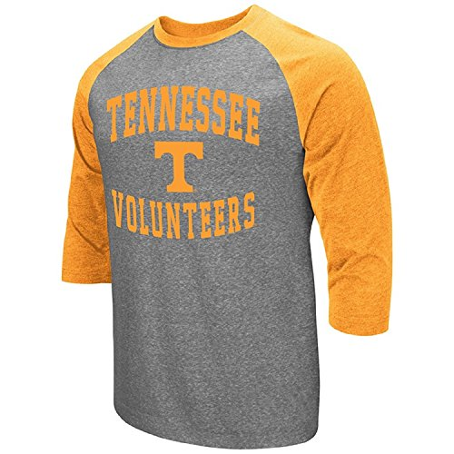 Colosseum Men's NCAA-Raglan-3/4 Sleeve-Heathered-Baseball T-Shirt-Tennessee Volunteers-Large