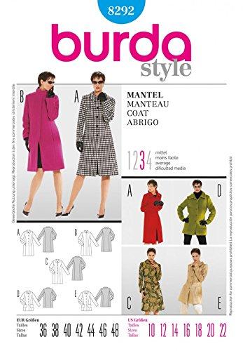 Burda 8292 - Patrones de costura para abrigos y chaquetas de mujer (tallas 36 a