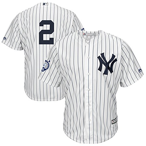 Derek Jeter New York Yankees #2 Youth Captain Patch Cool Base Home Jersey (Youth Small 8)
