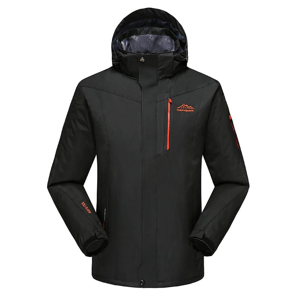 YKARITIANNA Men's Winter Outdoor Skiing Anorak, Autumn Winter Outdoor Cashmere Zipper Hoodie Sport Outdoor Assault Coat Black