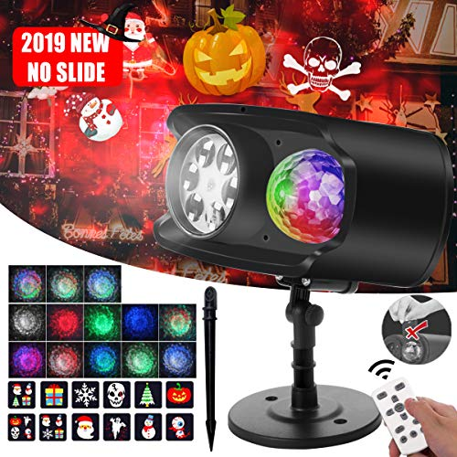 Christmas Light Projector, Bawoo 2019 Upgraded 2 in 1 Waterproof Ocean Wave LED Landscape Lights with Remote Control, 9 Moving Patterns for Indoor Outdoor Halloween Xmas Party Decorations