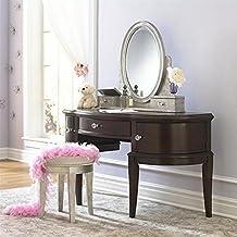 samuel lawrence furniture girls glam vanity set in black cherry