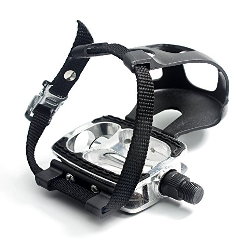 DRBIKE Bike Pedals with Toe Clips/Cages and Straps, 9/16